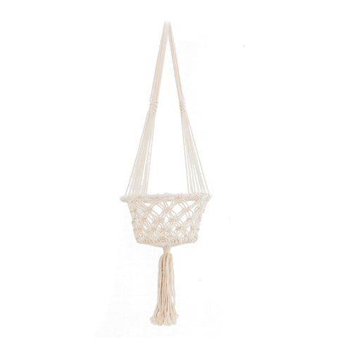 Macrame Hoop Planter Large Cream: Alternate View #1