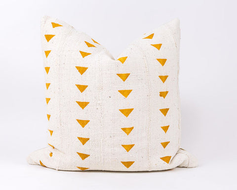 Mudcloth Cushion - Triangles Mustard Cushion: Alternate View #3
