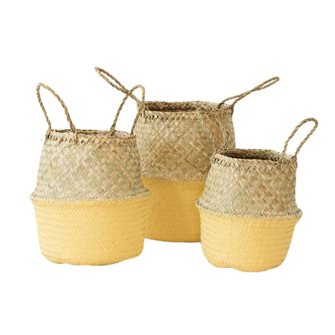Seagrass Belly Basket Mustard