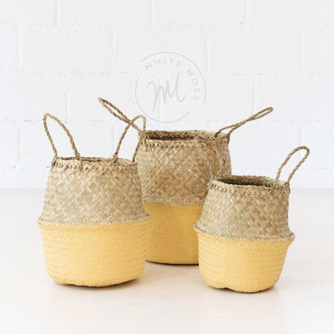 seagrass belly basket yellow