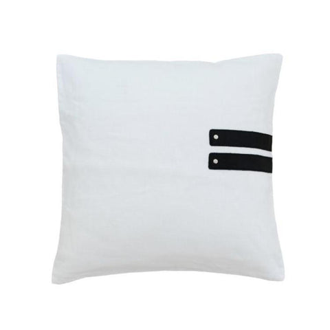 Black Leather & White Linen Cushion Cover