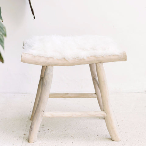 rustic faux fur stool