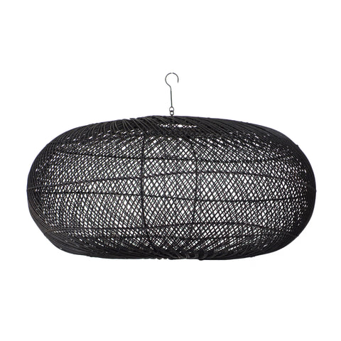 Rattan Sphere Pendant Light Black: Alternate View #1
