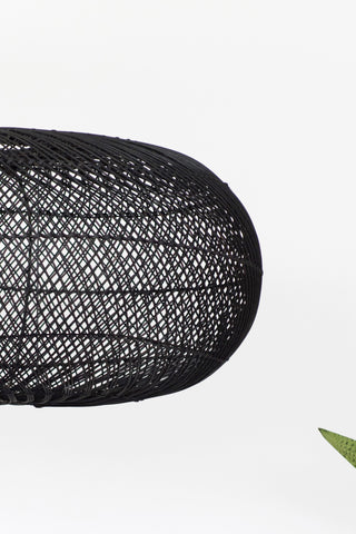 Rattan Sphere Pendant Light Black: Alternate View #2