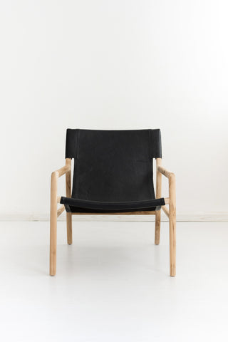 Bella Armchair - Black Leather: Alternate View #2