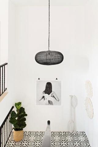 Rattan Sphere Pendant Light Black: Alternate View #4