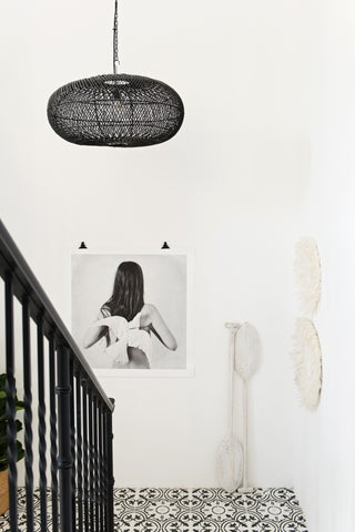 Rattan Sphere Pendant Light Black: Alternate View #5