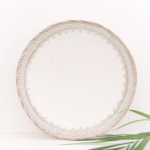 White Wood and Rattan Tribal Plate