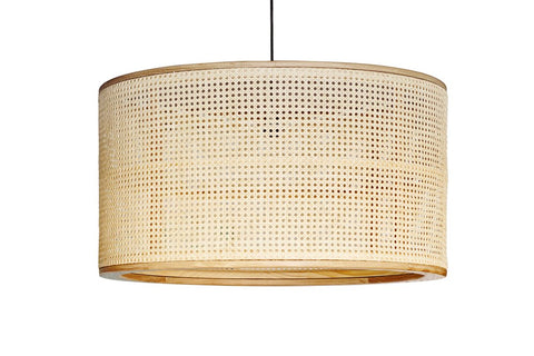 Cane and Wood Pendant Light: Alternate View #2