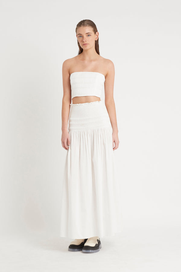 CECIL SMOCKED MAXI SKIRT - IVORY