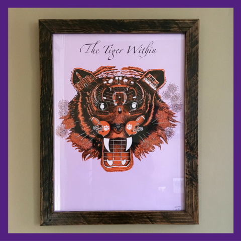 Clemson - THE TIGER WITHIN Official Art Print in Orange, Black & White