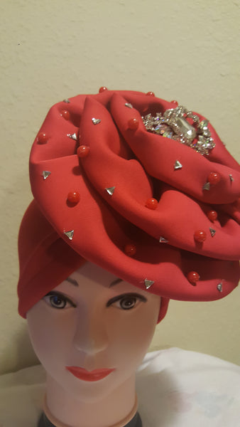 Orange Turban with stones - Express Gele
