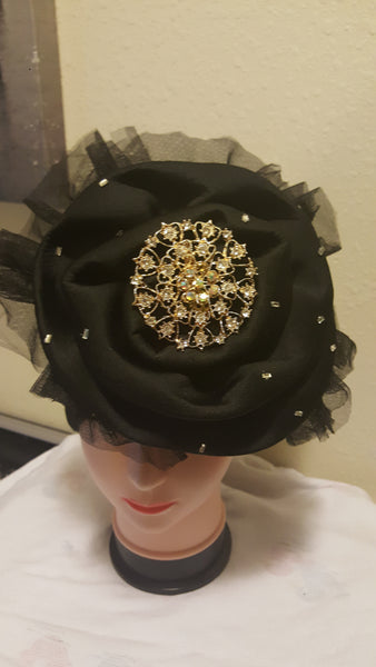 Black Turban with Stones and Mesh