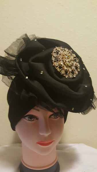 Black Turban with Brooch - Express Gele