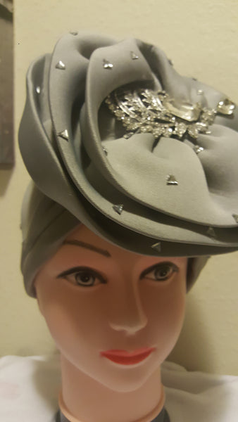 Grey Turban with Stones - Express Gele