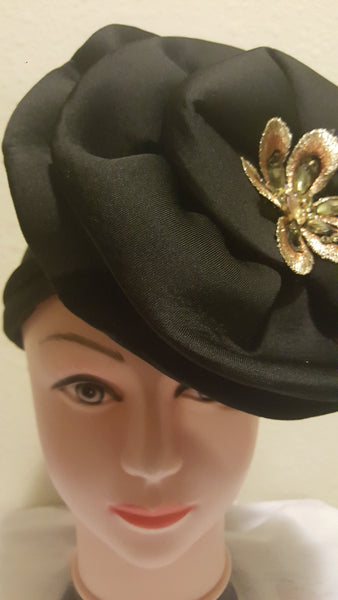 Black Turban with Brooch