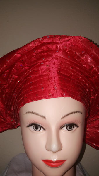 Red Instant Headwrap Aso oke