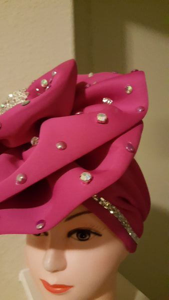 Pink Turban with double Stones - Express Gele