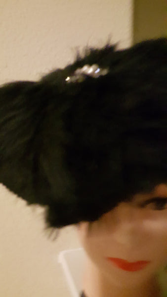 Black Turban with Faux Feathers - Express Gele