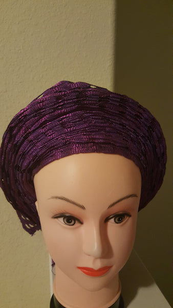 Purple African head-wrap. Tie in seconds. Aso-oke Gele - Express Gele