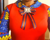 Red Dress with African Print Sleeves - Express Gele