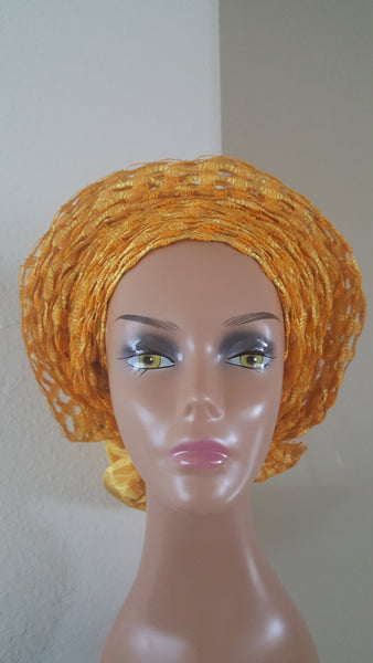 Yellow Aso-oke African Headwrap Autogele.Tie  in seconds - Express Gele