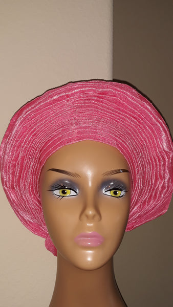 AutoGele -Pink - Asooke- Tie in Seconds - Express Gele