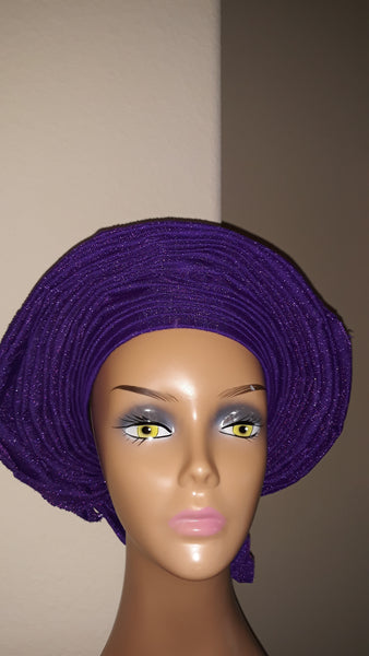 AutoGele- Asooke- Tie in Seconds- Purple - Express Gele