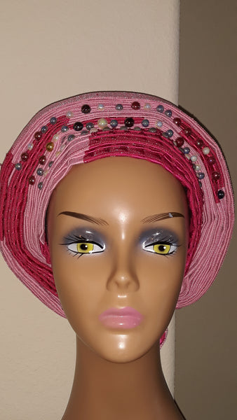 AutoGele- Multicolored Headwrap with Stones - Tie in Seconds - Express Gele
