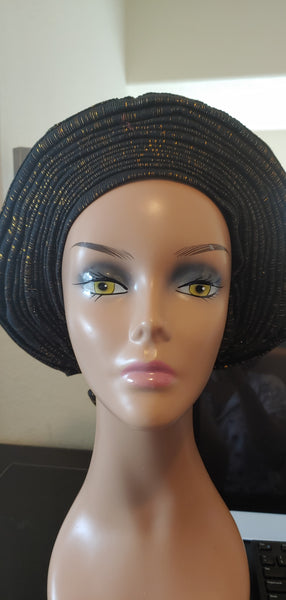 Black and Gold Autogele | Ready to Tie Head-wrap | Express Gele - Express Gele