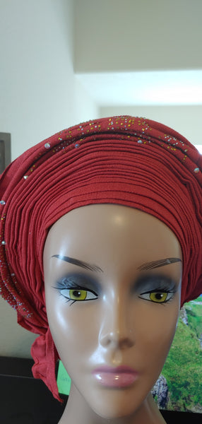 Red with Stones Autogele | Ready to Tie Head-wrap | Express Gele - Express Gele