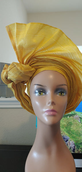 Yellow Avant Garde Autogele | Ready to Tie Head-wrap | Express Gele - Express Gele