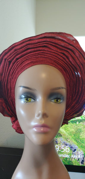 Wine Autogele | Ready to Tie Head-wraps - Express Gele