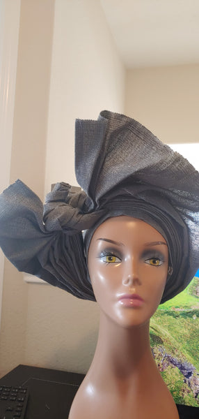 Gray Autogele | Ready to Tie Head-wrap | Express Gele - Express Gele