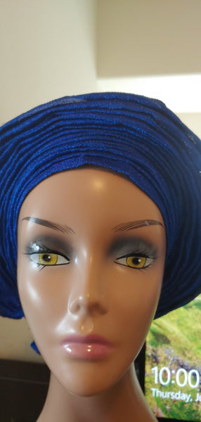 Blue Autogele | Ready to Tie Head-wrap | Express Gele - Express Gele
