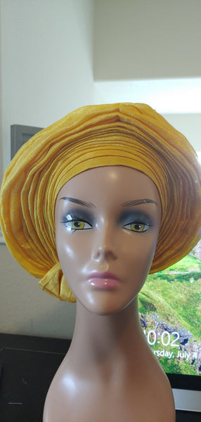 Yellow Autogele | Ready to Tie Head-wrap | Express Gele - Express Gele