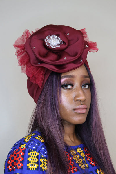 Wine Turban with Stones and Mesh - Express Gele