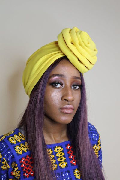 Yellow Turban with Patterned Fabric - Express Gele
