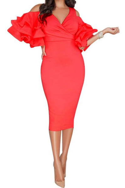 Red Cold Shoulder Midi Dress - Express Gele