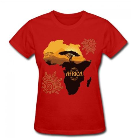 African Map Tee-shirt plus a Free African Queen Earrings - Express Gele