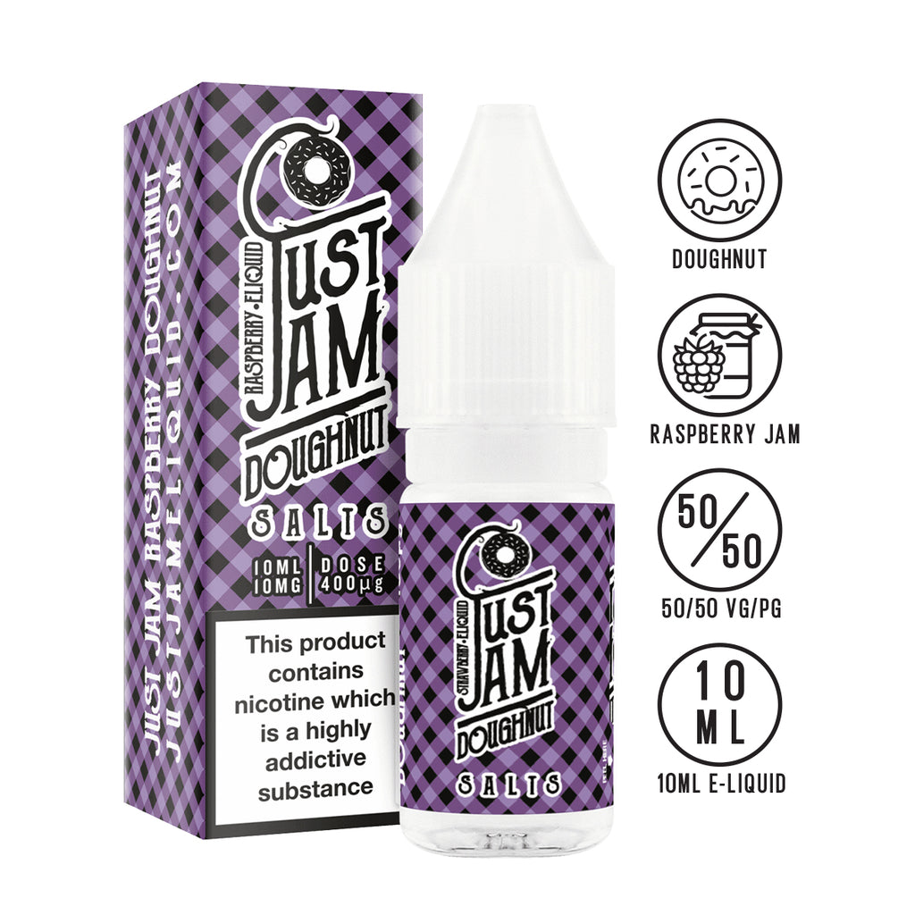 Just Jam Raspberry Doughnut 10ml Nicotine Salt