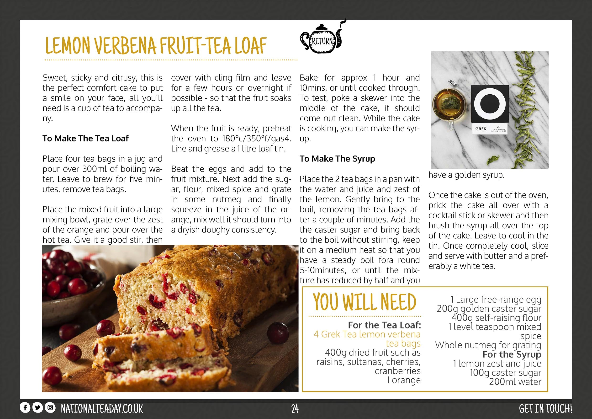 Fruit cake with lemon verbena tea recipe