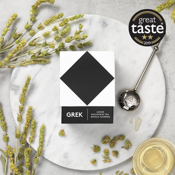 Flat lay image of GREK organic Greek mountain tea