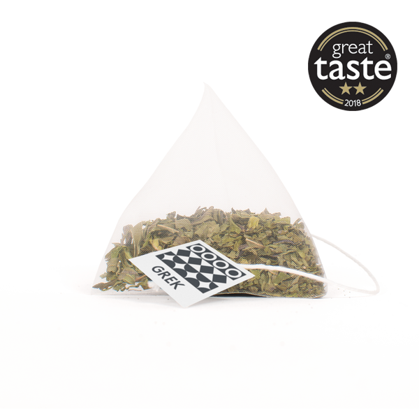 Award wining Greek organic peppermint tea from GREK - pyramid tea bag