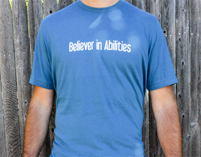 Believer in Abilities Lighthouse - Men's Crew Neck Short Sleeve T-Shirt-Deep Teal