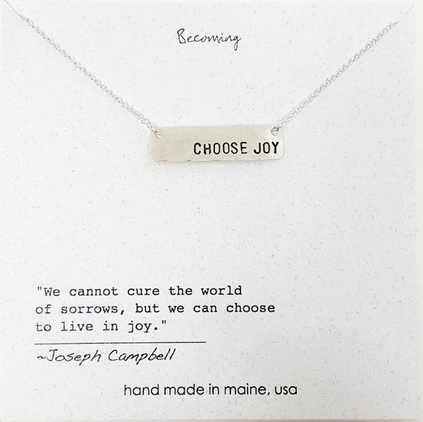 Choose Joy Small Bar Necklace by Becoming Jewelry