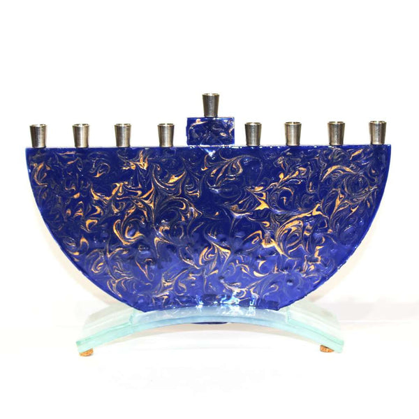 Marbled Blue Menorah by Tamarah Baskin