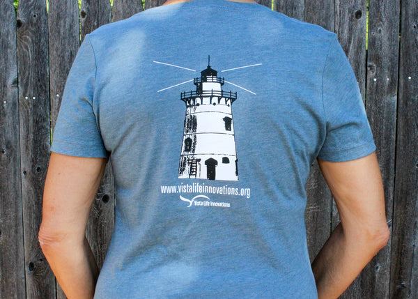 Believer in Abilities Lighthouse - Women's V-Neck Short Sleeve T-Shirt-Heather Slate