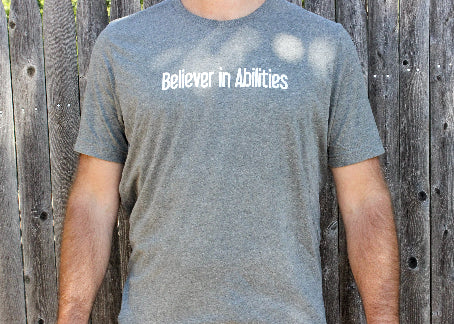 Believer in Abilities Lighthouse - Men's Crew Neck Short Sleeve T-Shirt-Deep Heather