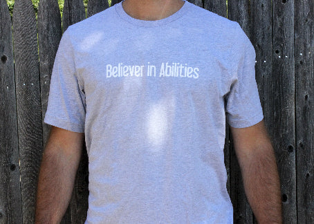 Believer in Abilities Lighthouse - Men's Crew Neck Short Sleeve T-Shirt-Athletic Heather